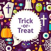 Flat Vector Pattern Halloween Trick or Treat Background - stock illustration