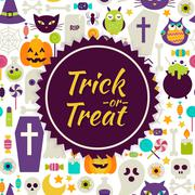 Stock Illustration of Flat Vector Trick or Treat Halloween Background