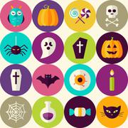 Flat Halloween Trick or Treat Seamless Pattern with Colorful Circles - stock illustration
