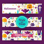 Halloween Trick or Treat Vector Template Banners Set in Modern Flat Style Stock Illustration