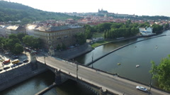 Aerial view of Legion Bridge in Prague Stock Footage
