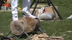 Man woodchopping wood log Stock Footage