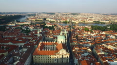 Aerial view of Prague on a sunny day - stock footage
