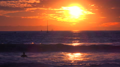 Waves break in front of a beautiful and inspirational Southern California - stock footage