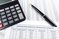 Amortization schedule documents Stock Photos