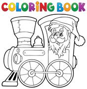 Coloring book Christmas locomotive - eps10 vector illustration. Stock Illustration