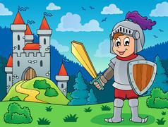 Knight in armor near castle - eps10 vector illustration. Stock Illustration