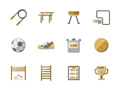 Stock Illustration of Flat style physical education color icons set