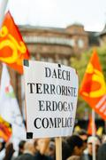Demonstrators protesting against Turkish President Erdogan policy - stock photo