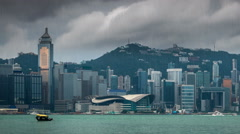 View of Victoria harbor just before a tropical cyclone and typhoon. Stock Footage