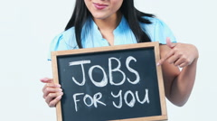 Asian businesswoman showing jobs for you sign - stock footage