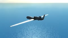 Military drone  flying over ocean and seeking enemy targets. Stock Footage