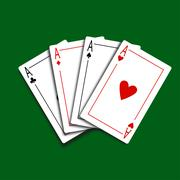 Set of Four Card Icons - stock illustration