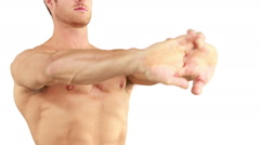 Muscular man flexing his muscle Stock Footage