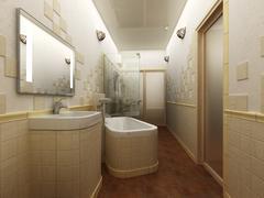 3D rendering of a modern bathroom interior design Stock Illustration