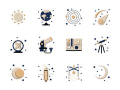 Flat style astronomy vector icons Stock Illustration