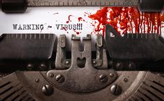 Bloody note - Vintage inscription made by old typewriter - stock photo