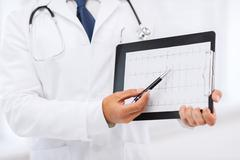 Stock Photo of male doctor hands holding cardiogram