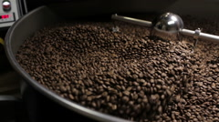 Coffee Roaster Cooling Down Freshly Roasted Coffee Beans Stock Footage