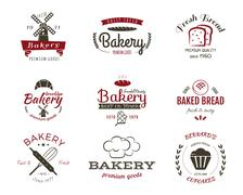 Stock Illustration of Set of bakery labels, icons, badges and design elements, symbols. Fresh bread