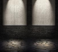 Decorative dark stone wall with lighter niches. light effect. Stock Photos