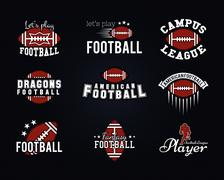 American football team, college badges, logos, labels, insignias, icons in retro - stock illustration