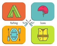 Rafting equipment flat icon, button collection.  Outdoors style, bright color - stock illustration