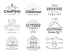 Set of retro badges and label logo graphics. Camping emblems and travel insignia Stock Illustration