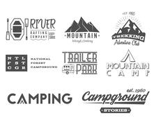 Set of retro badges and label logo graphics. Camping, mountain emblems and Stock Illustration