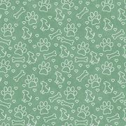 Green and White Doggy Tile Pattern Repeat Background - stock illustration