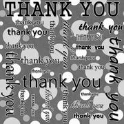 Thank You Design with Gray and White Polka Dot Tile Pattern Repeat Background Stock Illustration