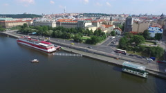 Aerial view of Stefanik Bridge and the old buildings from Prague Stock Footage