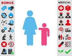 Mother With Son Icon - stock illustration