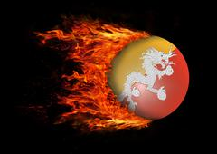 Stock Illustration of Flag with a trail of fire - Bhutan