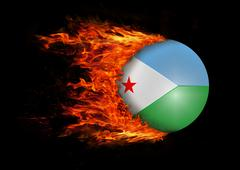 Stock Illustration of Flag with a trail of fire - Djibouti