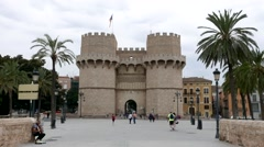 Time lapse of tourist in front of the Serranos Towers in Valencia, Spain. Stock Footage