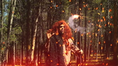 Forest magic pagan primitive cave man Stock Footage