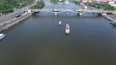 Aerial view of Vltava River and Stefanik Bridge, Prague Stock Footage