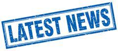 latest news blue square grunge stamp on white - stock illustration