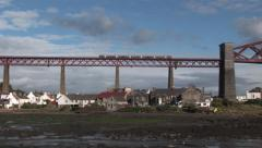 Train Crossing the Forth Bridge Stock Footage