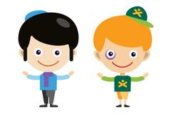 Jew boy and bully cartoon vector boys in different costumes - stock illustration