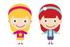 Redhead and blonde cartoon vector girls in different costumes Stock Illustration