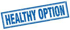 healthy option blue square grunge stamp on white - stock illustration