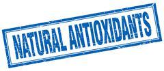 Stock Illustration of natural antioxidants blue square grunge stamp on white