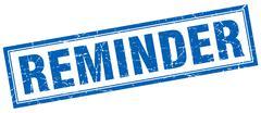 reminder blue square grunge stamp on white - stock illustration