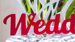 "Wedding decor. Text ""wedding day"" on a white chair Stock Footage"