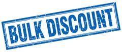 bulk discount blue square grunge stamp on white - stock illustration