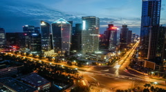 China, chengdu in sichuan province city light delay Stock Footage