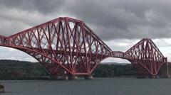 Forth Bridge in Scotland - stock footage