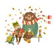 Cheerful tourist is playing guitar for the bear Stock Illustration